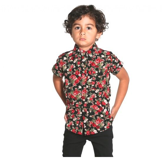 Kids rose print button up shirt summer surf fashion style / Tevita clothing