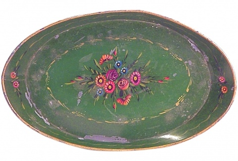 Antique Green Floral Tole Tray