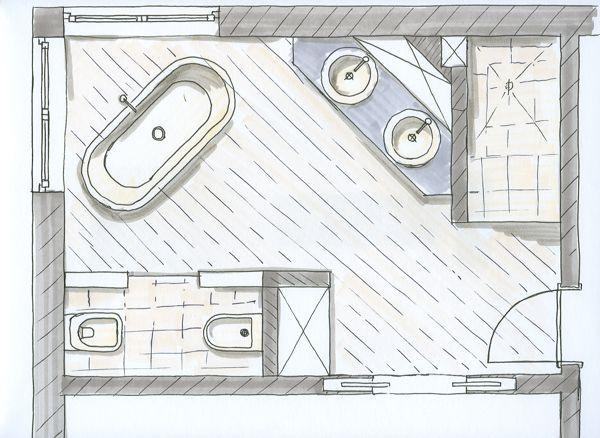 219 besten bad grundriss bilder auf pinterest badezimmer for Grundrisse badgestaltung