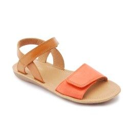 Coral/Tan Leather Girls Shoes