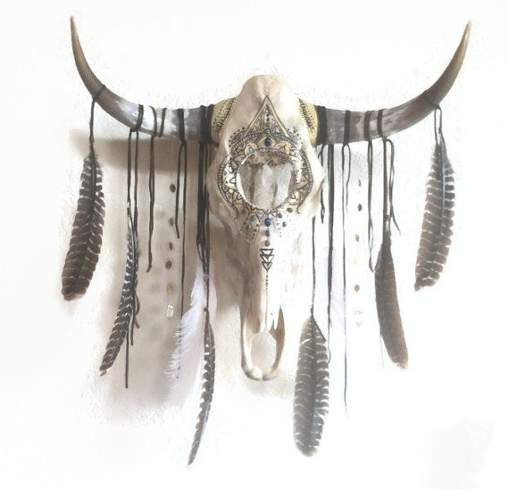 gypsy dreams dreamcatcher skull //OAK bull skull dream catcher wall hanging // steer skull, home decor, southwestern, dreamcatcher, feathers