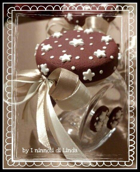 Barattolino in vetro decorato con fimo, tema pandistelle...idea bomboniera by I ninnoli di Linda