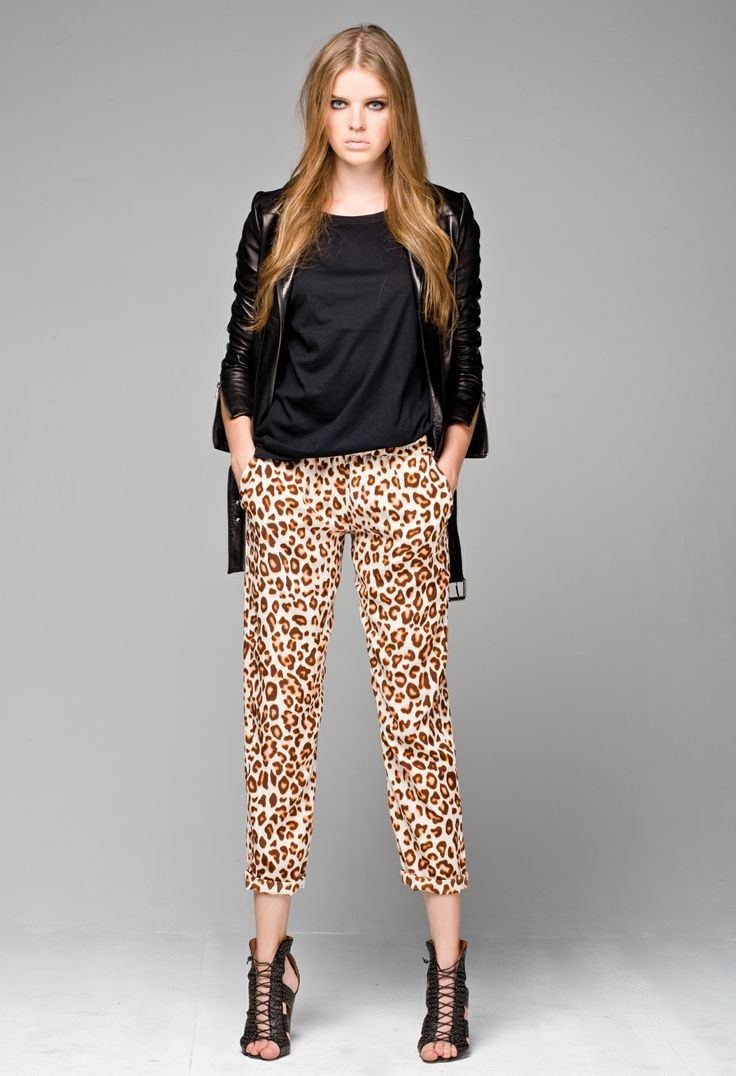 Little Joe Woman's Wolf Whistle Leather Jacket, and Aimless silk leopard print pants