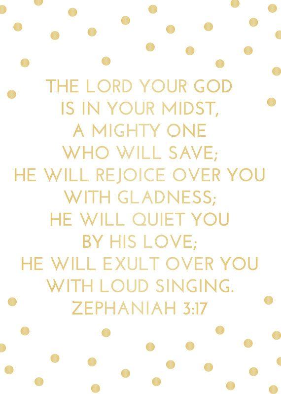 Gold Foil Zephaniah 317 Dots Print  Bible Verse by WithWonderPaper, $15.00
