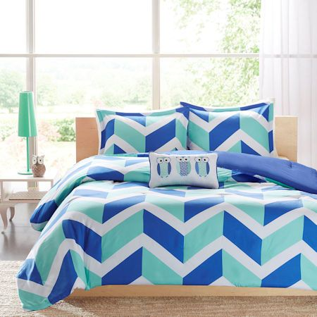Blue Aqua Zig Zag Chevron Teen Girl Bedding Twin XL Full/Queen Comforter or Quilt Set