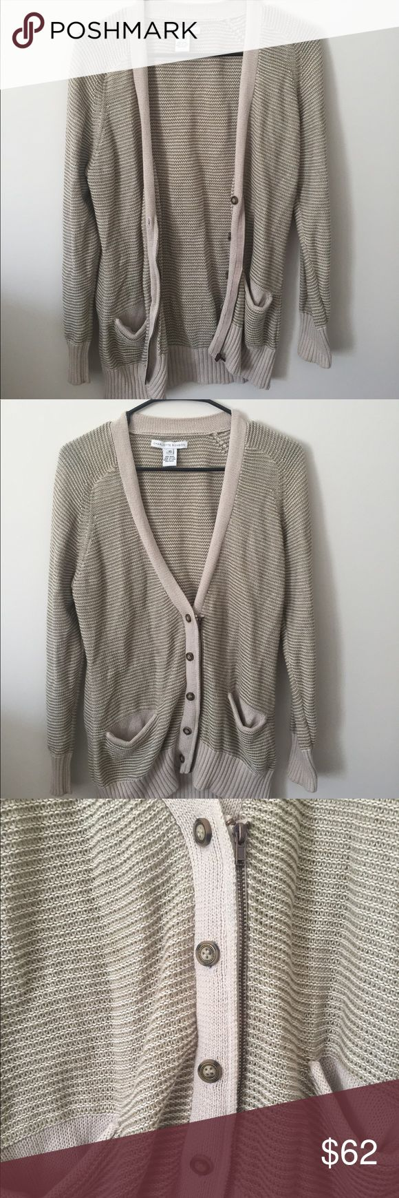 *Charlotte Ronson striped cardigan, nice fit!* Only worn a few times, this striped cardigan can dress up any of your simple outfits. A simple white shirt, denim jeans and booties with this cardigan will have heads turning towards you. You can zip the front or button it...or both! Charlotte Ronson Sweaters Cardigans