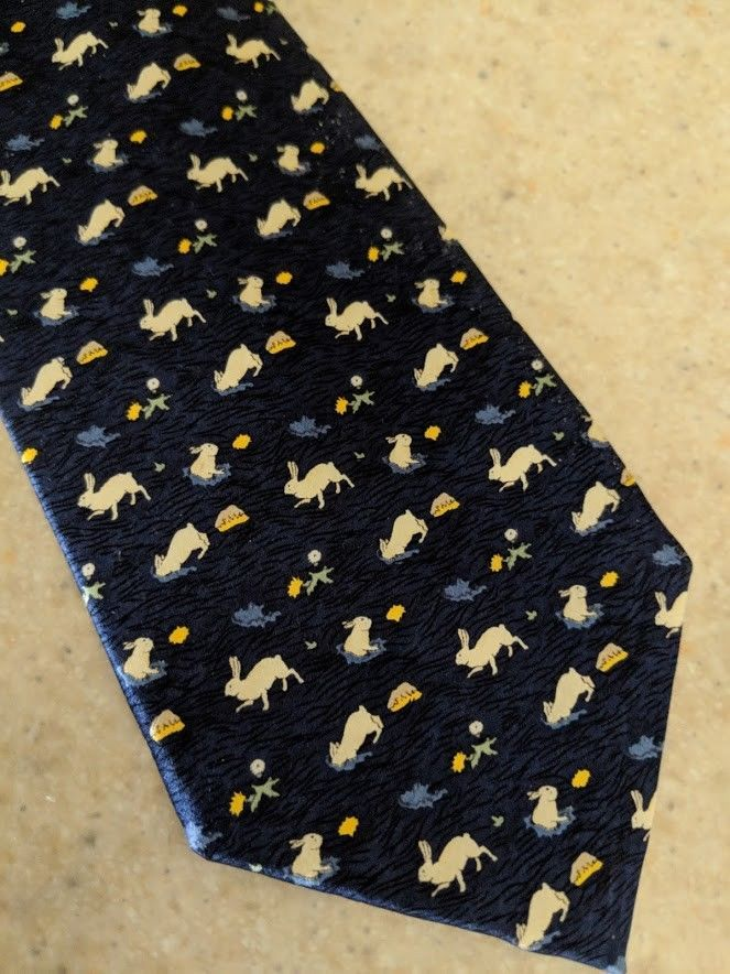 7966cd5b87d9a6 Cattani Uomo Silk Tie Bunnies Rabbits Handmade Italy Milano Navy White  Yellow  Cattani  Tie