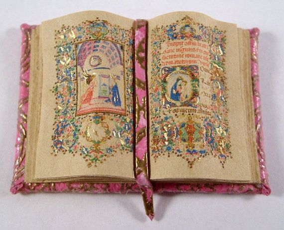 Miniature Book Medieval Gold Illuminated Open Book Ooak by whydgc, $30.00