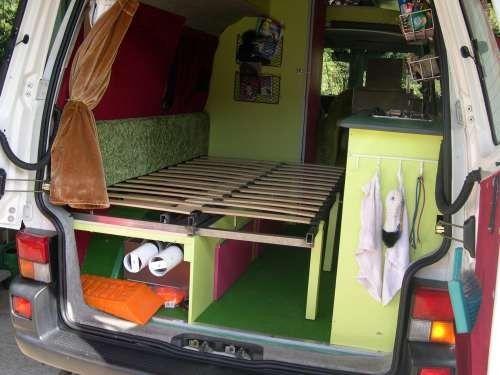Lit 2 places déplié Combi Volkswagen Transporter T4