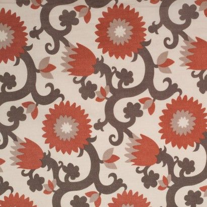 Orange/Brown Floral Printed Cotton Voile Fabric by the Yard | Mood Fabrics
