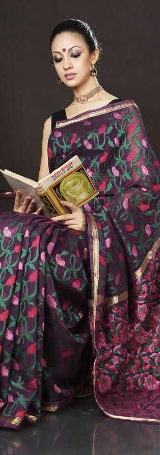 Tangail Handloom Saree from Dhaka. original pin by @webjournal