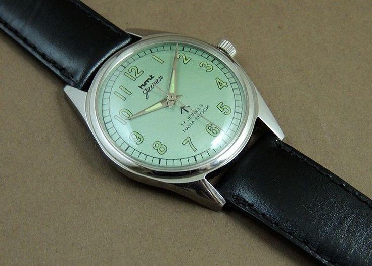 Vintage HMT Jawan HandWind 17Jewel India Mechanical Green Dial Military Watch #HMT #Casual