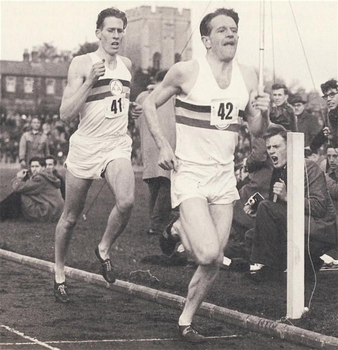 Chris Chataway sets the third lap pace for Roger Bannister en route to the first 4 minute mile.
