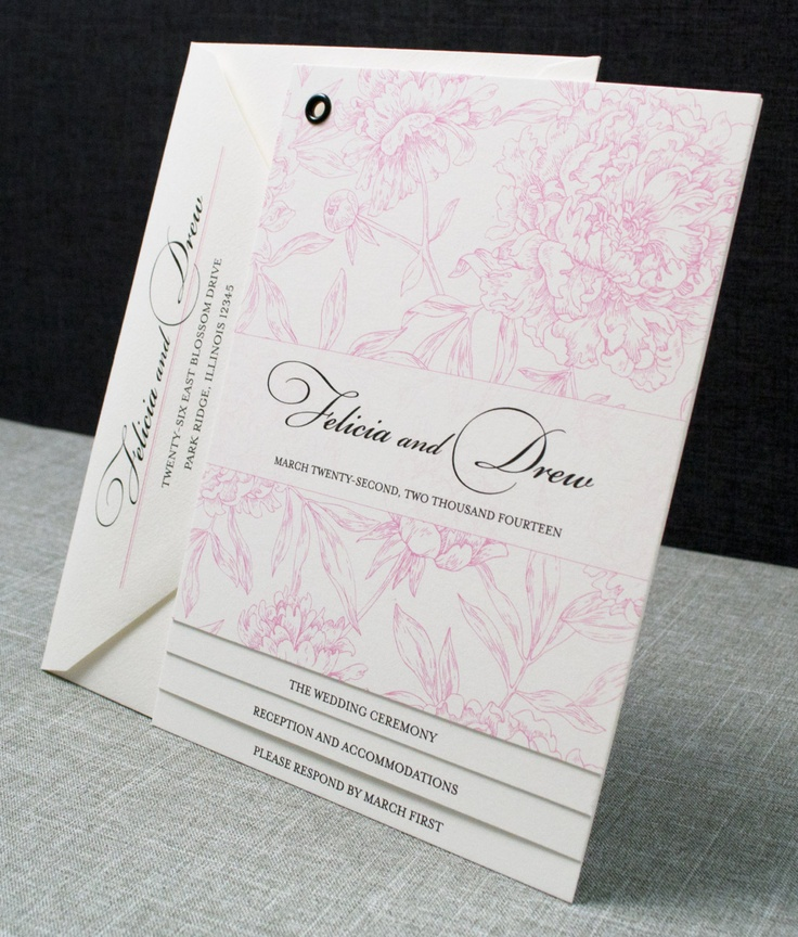 moroccan scroll wedding invitations%0A Booklet Wedding Invitation  Pink Peony Pattern Book Invitation