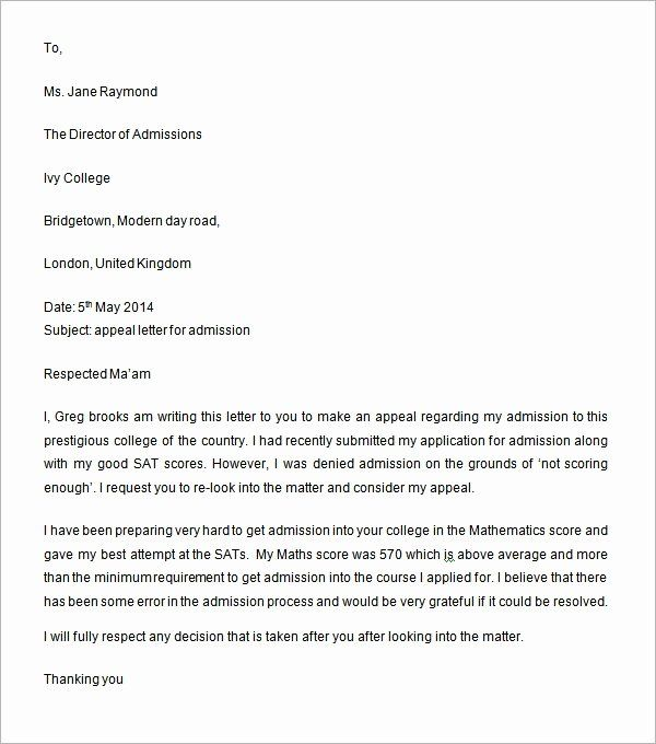College Appeal Letter Sample New Sample Appeal Letter 7 Free Documents Download In Word Letter Sample Lettering Letter Example
