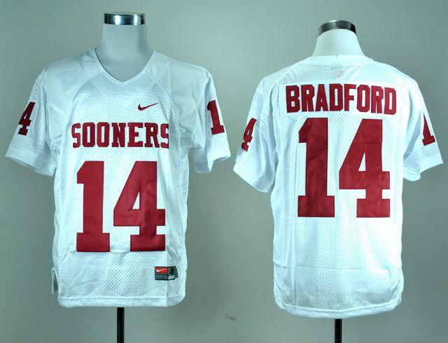 Men's NCAA Oklahoma Sooners #14 Sam Bradford White Jersey