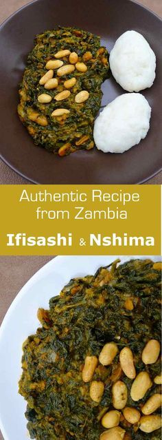 Ifisashi, a traditional vegetarian dish from Zambia, is typically served with Nshima
