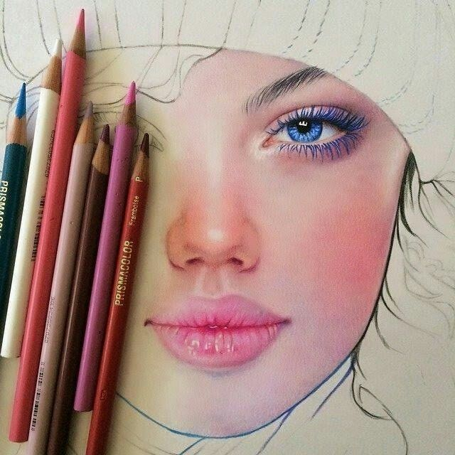 how to draw face with coloured pencils