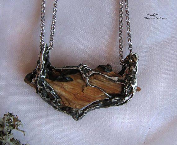 Wood opal pendant  Ailafiel petrified and opalized