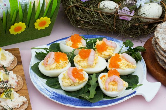 Garnished eggs on a Swedish Easter buffet table