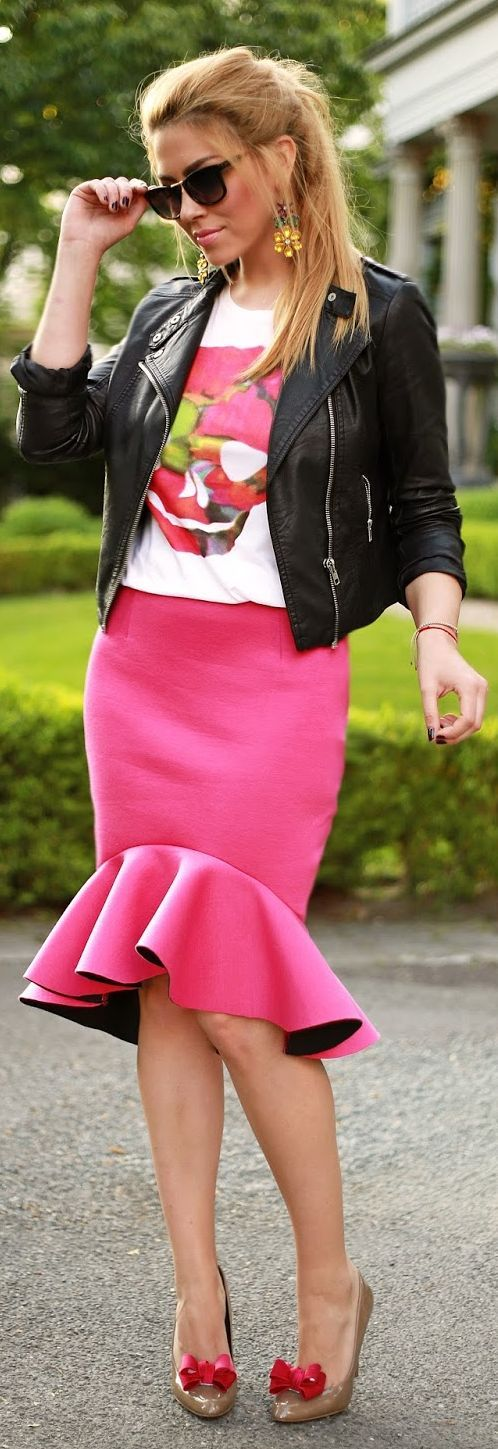 Choies Pink Fishtail Pencil Skirt by Fashion Painted Dreams