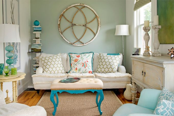 turquoise & green living room: Interior, Living Rooms, Decorating Ideas, Wall Color, Livingroom, House, Design