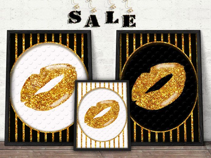 Gold, black and white Lip Print Faux Gold Foil, Gold Foil, Lip Print, Typography Art, Typgoraphy, Dorm Decor, Apartment Decor, Home Decor. by Design by Irene, $5.00 USD
