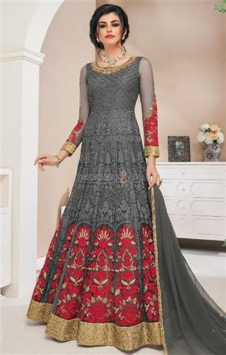 cfe37d77bdd  Buy Elaborated Floral Grey Embroidered  Gown  Dress For  Gathering  Online.  This  Long  Suit Has Scoop Neck