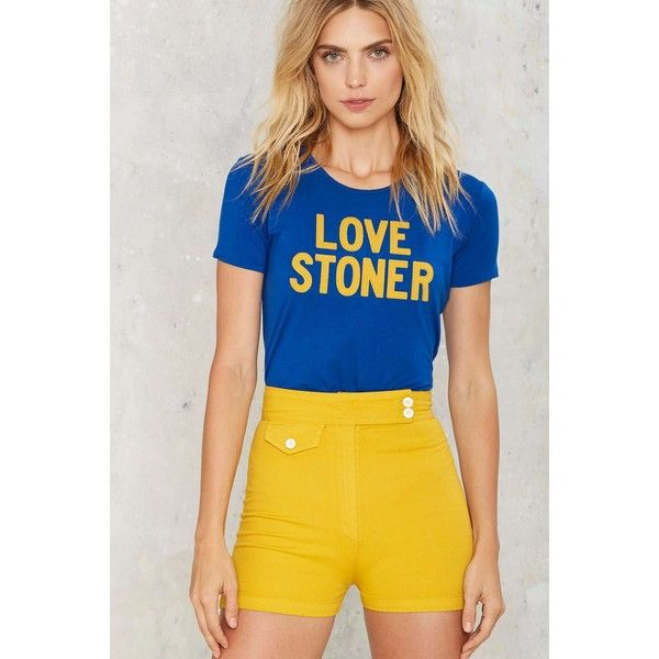 Sugarhigh Lovestoned Kiss the Sky High-Waisted Shorts featuring polyvore women's fashion clothing shorts yellow sunflower shorts yellow high waisted shorts highwaist shorts vintage shorts high rise shorts
