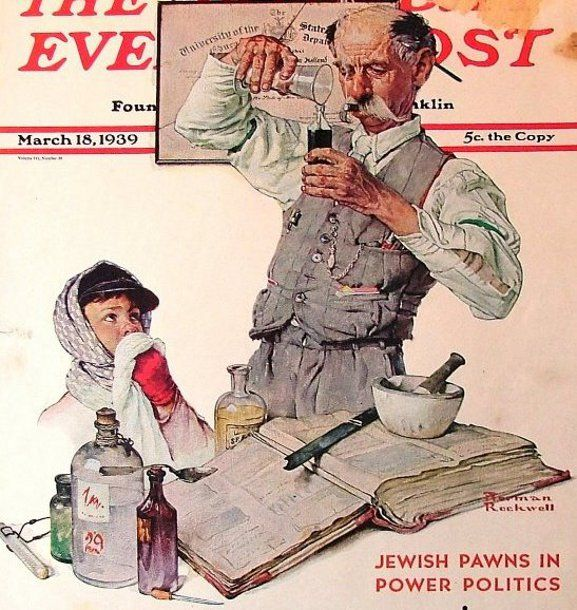 """March 18, 1939 - """"Pharmacist"""" by Norman Rockwell (1894 – 1978, American)"""