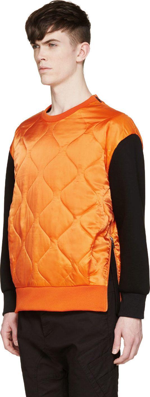 Neil Barrett Orange & Black Quilted Sweatshirt