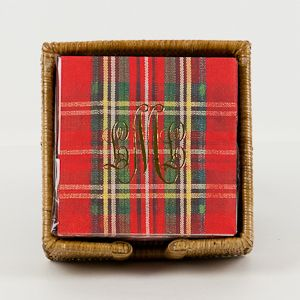 Holiday brilliance from yours truly: these monogrammed tartan print napkins would make an ideal gift for distant friends of the family or relatives that have been twice/thrice removed. Personally impersonal. Your welcome.
