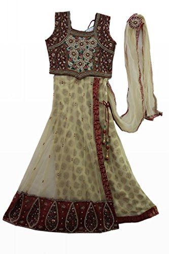Beige and meroon coloured kids party wear ghagra choli, Indian clothing