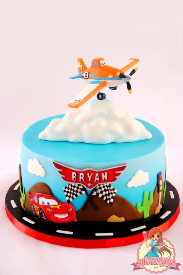My last cake for this year :) I made this for 2 years old boy names Bryan. The mom asked for cars and planes theme. I made Dusty – Planes for the topper and if you see i changed his number 7 with 2 to mention the boy's age. The bottom i made...