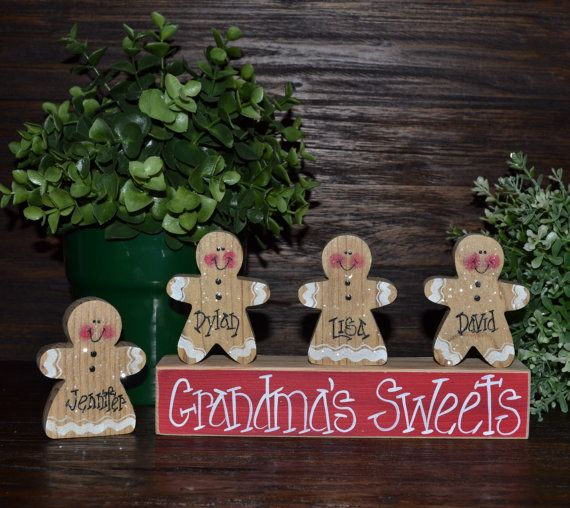 Gingerbread Christmas Decor Personalized Gingerbread Family Block Set-Personalized Grandma Gift Christmas Decoration Personalized Holiday
