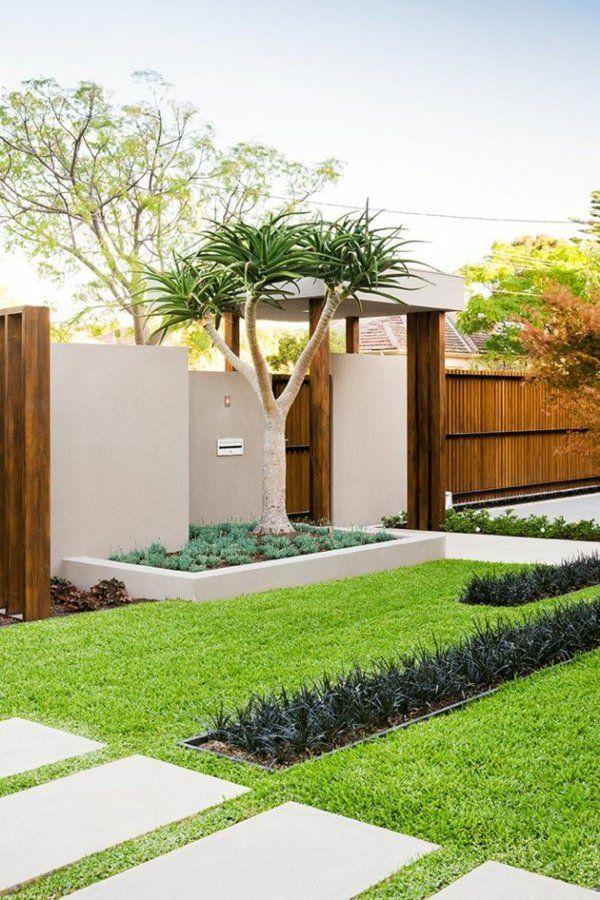 exterior designideen minimalistisch moderne vorgartengestaltung rasen betonplatten