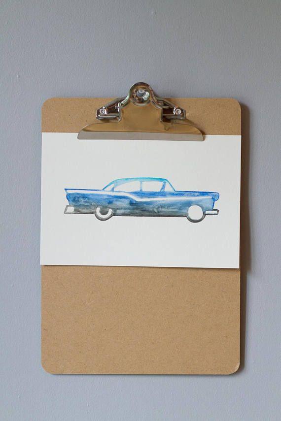 Automobile illustration aquarelle enfant garçon déco