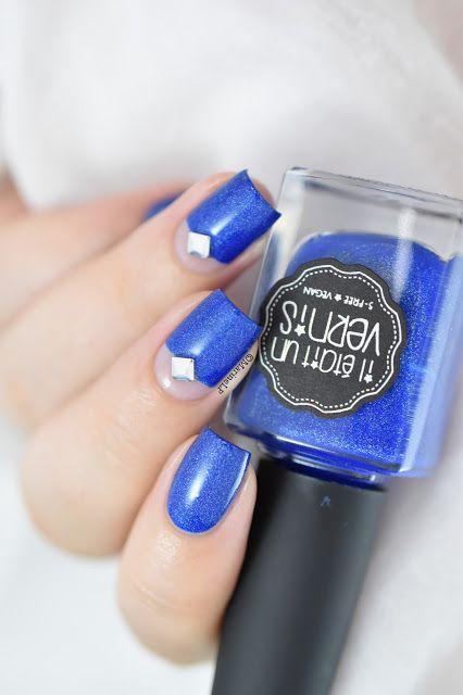 Marine Loves Polish: Captain blue stud ! - Negative space & stud nail art - IEUV Captain Blue Sky