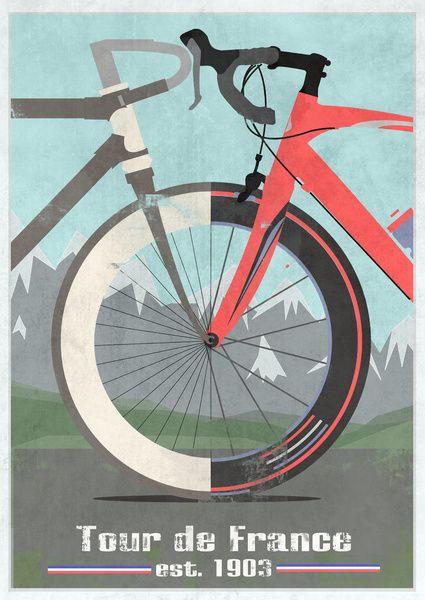 Tour De France Bike Art Print Bike Sports Bicycle Fahrrad Poster