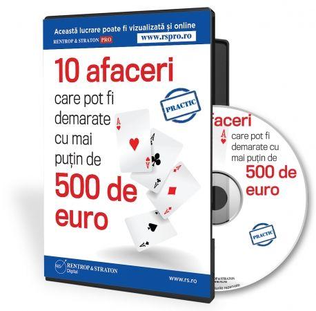 """CD-ul """"10 afaceri care pot fi demarate cu mai putin de 500 de euro"""" cuprinde cele mai accesibile afaceri care pot fi demarate la ora actuala in Romania!  Acestea va sunt oferite de publicatia de specialitate cu cea mai mare experienta in domeniu - revista """"Idei de AFACERI""""!"""