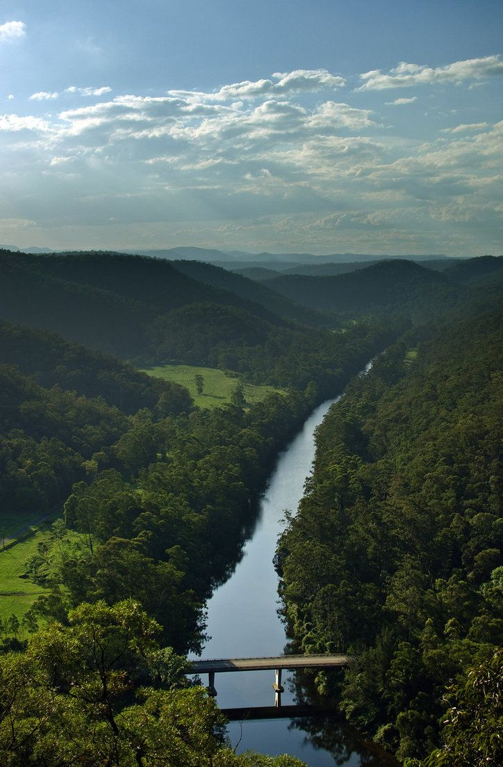 View overlooking the Colo river and Putty road, NSW, Australia. Late afternoon