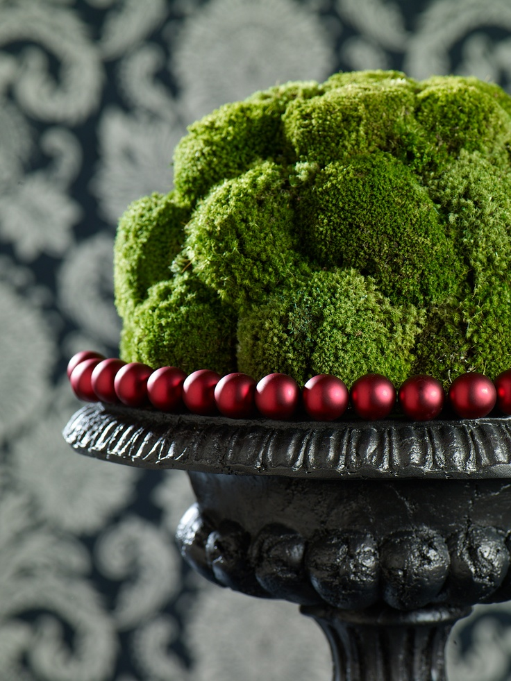 A strand of red beads can turn any greenery into a festive display.