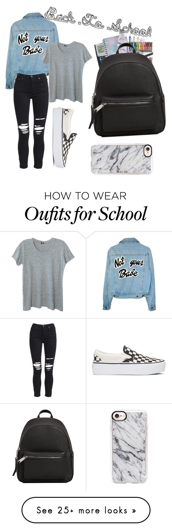"""""""Back To School"""" by curlyhead23 on Polyvore featuring Monrow, AMIRI, Vans, Forever 21, Sharpie, S'well, MANGO and Casetify"""