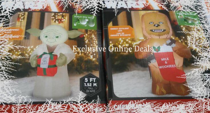 Star Wars Chewbacca Yoda Inflatable Disney Blow Up Christmas Yard Decoration #GemmyAirblown