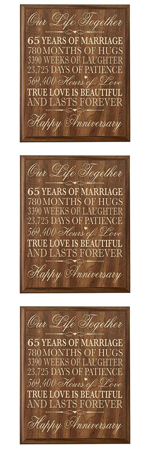 """65th Wedding Anniversary Wall Plaque Gifts for Couple parents, 65th Anniversary Gifts for Her,65th Wedding Anniversary Gifts for Him 12"""" W X 15"""" H Wall Plaque (Walnut)"""