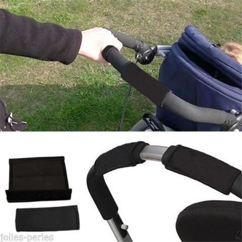 JP Black Baby Pram Stroller Rotary Handle Grip Sleeve Bumper Bar Cover Covered