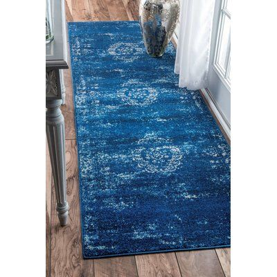 "Bungalow Rose Demetrius Blue Area Rug Rug Size: Runner 2'8"" x 8'"