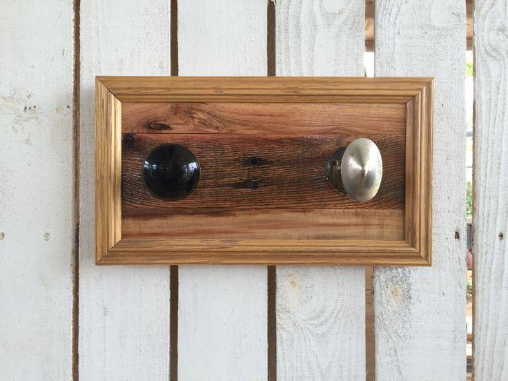 Door Knob Coat Rack - Reclaimed Wood Wall Art - Bathroom Towel Rack - Rustic Entryway Organizer - Pallet Coat Rack - Housewarming Gift by FunkieJunkEmporium on Etsy