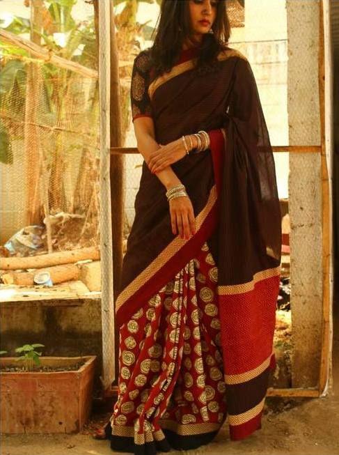 Handloom Vintage Style Hand Block Printed Saree