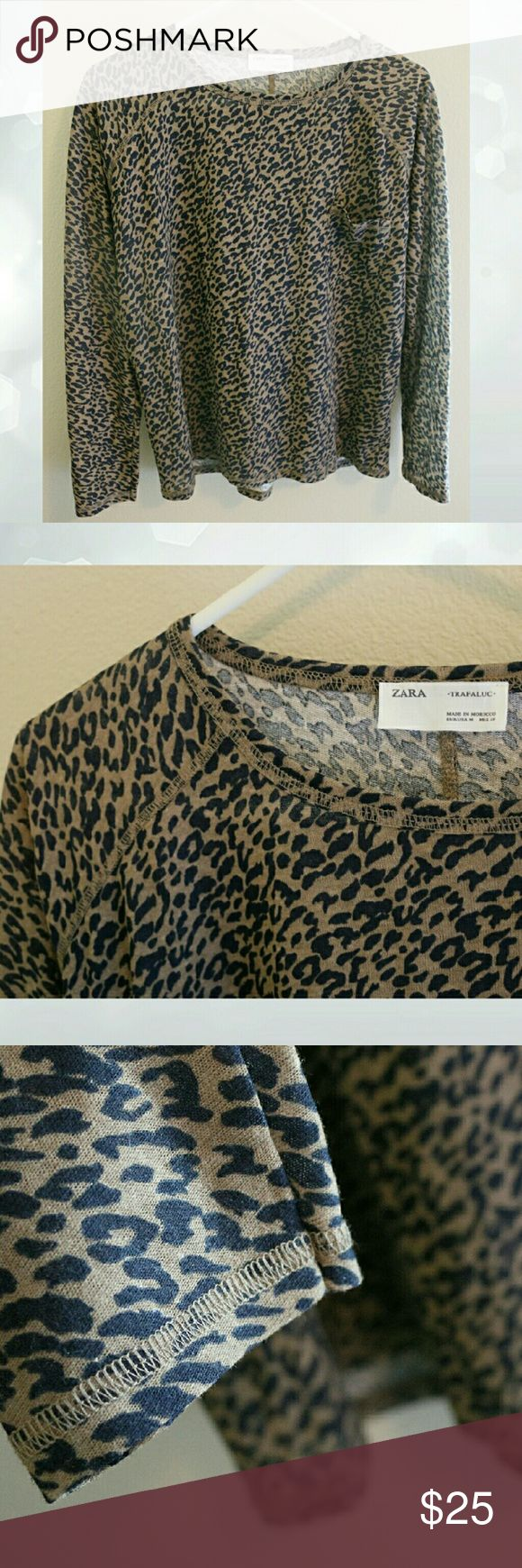 ZARA, long sleeve top, animal print, NWOT ZARA brand (Trafaluc), animal print long sleeve top.  Perfect brand new condition,  but without tags.  Great stitching details!! Zara Tops Blouses